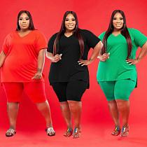 Plus Size Solid Color Short Sleeve T-shirt Shorts 2 Piece Set WA-7143