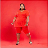 Plus Size Solid Color Short Sleeve T-shirt Shorts 2 Piece Set WA-7143