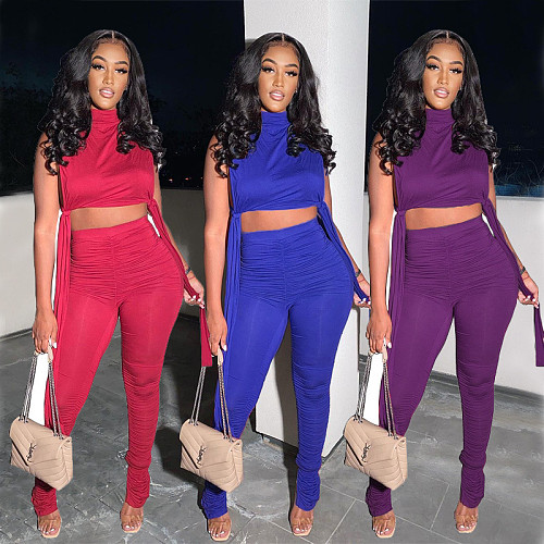 Womens Fashion Solid Color Vest Crop Top Leggings Two Piece Set WXY-8831