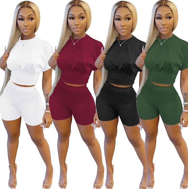 Solid Short Sleeve Crop Top Shorts Summer Two Piece Set MZ-2629