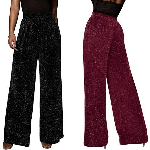 Women Sequined Shining High Waist Wide Leg Full Pants MZ-2628