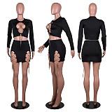 Sexy Split Chain Splicing Crop Top Skirt Nightclub Two-piece Set PN-6658