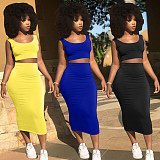 Solid Color Sleeveless Cropped Vest+Skirt Sexy 2 Piece Set LP-6269