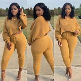 Winter Solid Color Long Sleeves Crop Top Skinny Pants 2 Pieces QY-5219