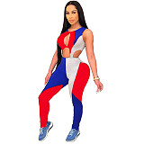 Women's Color Block Stitching Sleeveless Cutout Jumpsuit MDF-5210