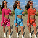 Paisley Print Shorts Long Sleeve Crop Top  2 Piece Outfits GLS-8125