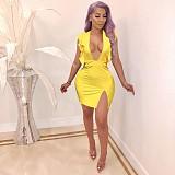 Solid Color Flounces Deep V Neck Sleeveless Slit Mini Dress QZX-6191