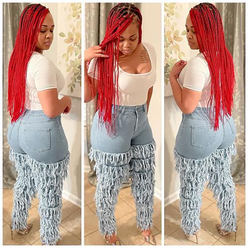 Women Multilayer Stacked Tassel Stretch Mid-waist Jeans LA-3255