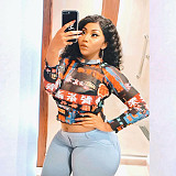 Plus Size Chinese Elements Printed Long Sleeve Crop Top JLY-19165
