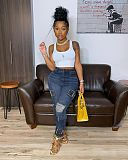 Butterfly Embroidered Ripped Push Up Denim Pencil Pants LA-3256