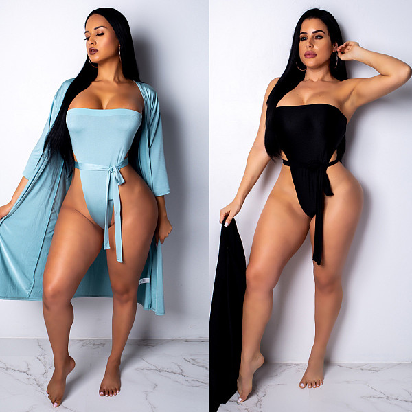 Solid Color Monokini Bodysuit+Thin Coat 2 Piece Swimwear BN-9153