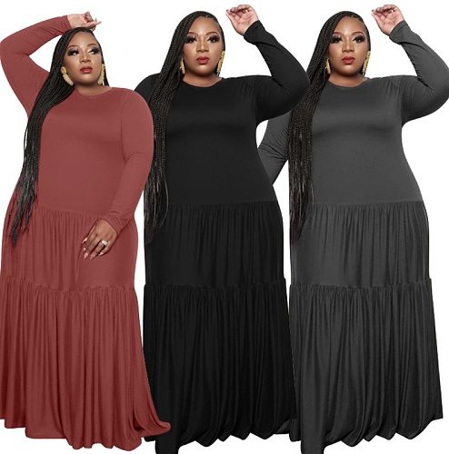 Plus Size Solid Color Patchwork Long Sleeve Loose Maxi Dress OSS-21051