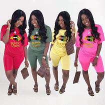 Short Sleeve Lips Printed T-shirt Shorts Sports Two-Piece Set WA-7145