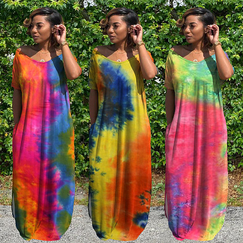Tie-dye Print Short Sleeve V Neck Loose-fitting Slit Dress WA-7146