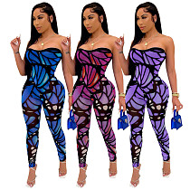 Sexy Low-cut Colorful Printed Sleeveless Bodycon Jumpsuit MR-9040