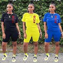 Short Sleeve Top Shirt Biker Bodycon Shorts 2 Piece Outfits WA-7147