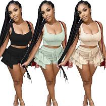 Summer Solid Color Cropped Vest Irregular Shorts 2 Piece Set SY-9071