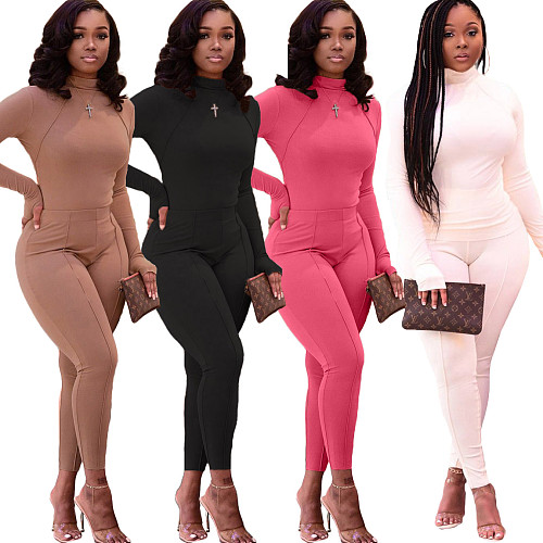 Solid Color Casual Long Sleeve Fitness Tops Leggings 2 Piece Suit LM-8217