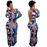 Women's Printed Long-sleeved Backless Slim-fit Maxi Dress SQ-938