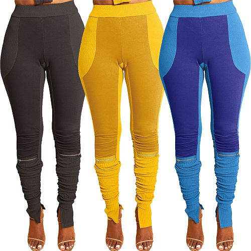 Contrast Color Stitching Zipper Mid-waist Skinny Pleated Pants SY-9070