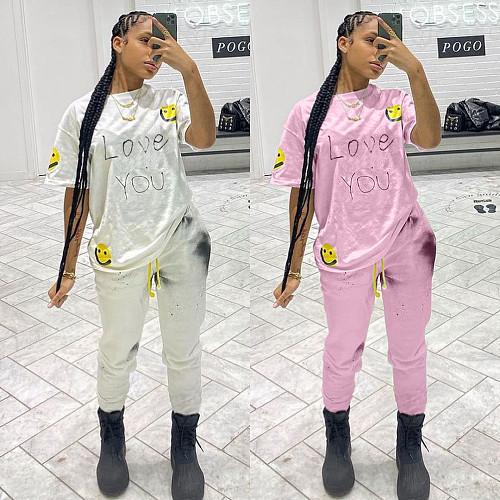 Women Cute Print Short Sleeve T-shirt Full Pants 2 Piece Outfits MN-9287