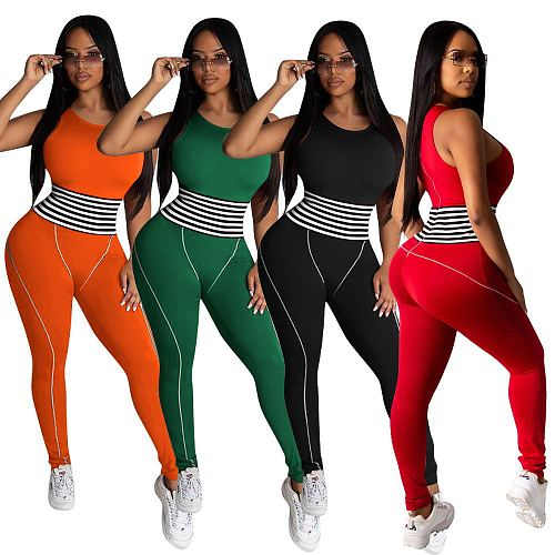 Women Sleeveless Round Neck Skinny Fitness Jogging Jumpsuit MEM-8332