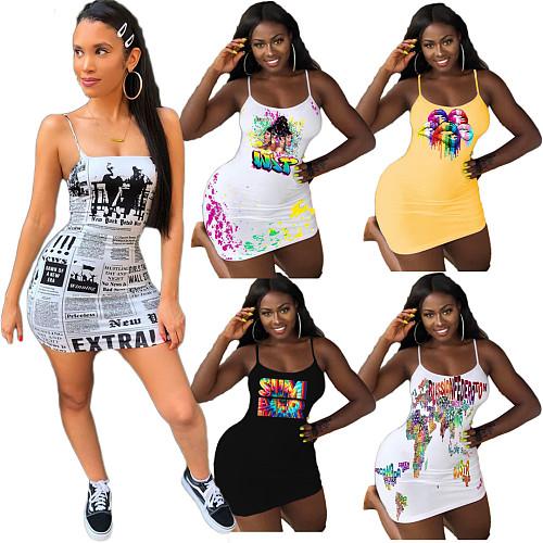 Women's Fashion Solid Color Round Neck Print Halter Dress DAI-8329