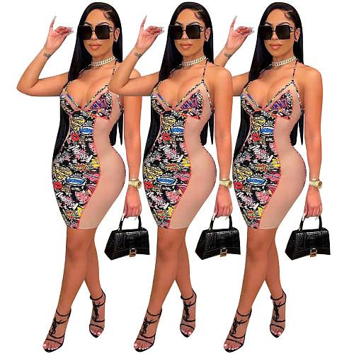 Women Sexy Mesh Splicing Tight V Neck Halter Slim Dress FST-7166