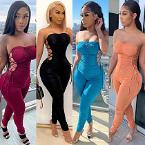Womens Solid Bodycon Sleeveless Night Club Lace-up Jumpsuit GLS-8124