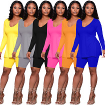 Women Solid Color Long Sleeve Split Top Shorts 2 Piece Outfits ARM-8249