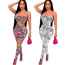 Pattern Printed Women Sleeveless Skinny Strapless Jumpsuit KY-3053