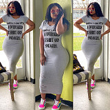 Hot Style Letter Print Short Sleeve Round Neck Slim Midi Dress DAI-8223