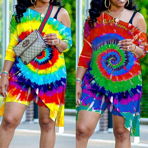 Fashion Tie-dyed Print Irregular Top Skinny Shorts 2 Piece Set NY-8922