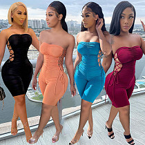 Summer Sexy Sleeveless Solid Color Pleated Bodycon Romper SQ-946