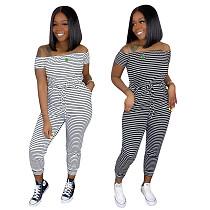 Women Striped Off Shoulder Short Sleeve Bodycon Jumpsuit OY-6251