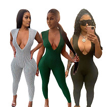 Ribbed Women Sleeveless Deep V-Neck Solid Bodycon Jumpsuit DY-6640