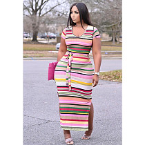 Short Sleeve Women's Rainbow Stripe Print Dress with Belted GS-2021