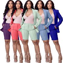 Long Sleeve Lapel Plain Color Jacket Suit+Shorts 2PCS Set KDN-2116
