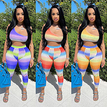 Gradient Crop Top+High Waist Skinny Pants Two Piece Outfits CH-8159