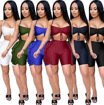 Drawstring Halter Crop Tops Booty Shorts Two Piece Outfits MZ-2419