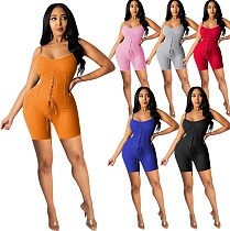 Hot Sales Solid Color Strap Sleeveless High Waist Bodycon Romper ME-774