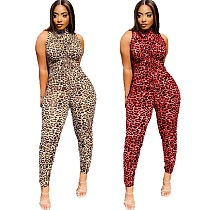 Women Vintage Leopard Printed Sleeveless Bodycon Jumpsuits KY-3055