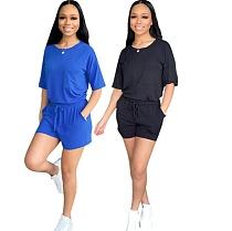 Women Fitness Short Sleeve T-Shirts+Shorts 2 Pcs Outfits YIS-530