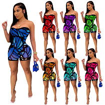 Sexy Print Women Skinny Stretch Strapless Bodycon Romper NIK-212