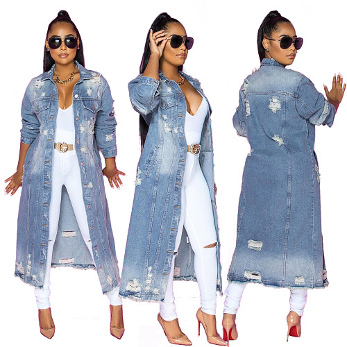 Women's Full Sleeve Outwear Ripped Loose Long Denim Coat LX-6083