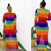 Rainbow Striped Print Patchwork Mesh Long Sleeve Dress OY-6253