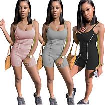 Women Backless Slim Sleeveless Halter Bodycon Gym Romper NM-8341