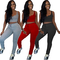 Vest Crop top+Ruched Drawstring Pants Skinny 2 Piece Set CYAO-8072