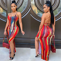 Women Tie Dyed Printed Halter Backless High Slit Maxi Dress BGN-148
