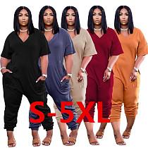 Plus Size Short Sleeve V Neck Loose-fitting Street Jumpsuit BER-8059